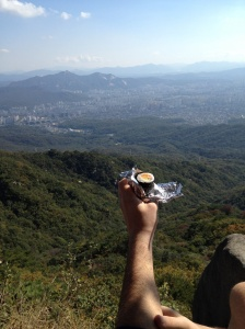 Kimbap snack at the top