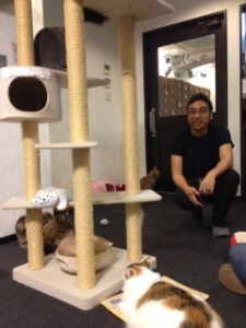 Vi at the Cat Cafe