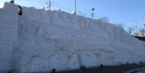 Wall made out of snow