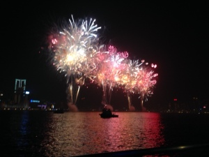 Fireworks over Victoria Harbor