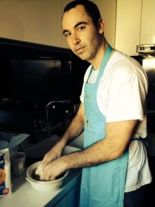 Alex making dough for dumpling wrappers