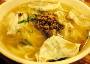Dumplings in noodle soup