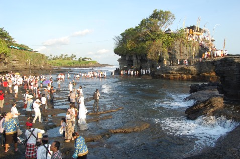 People crossing at low tide