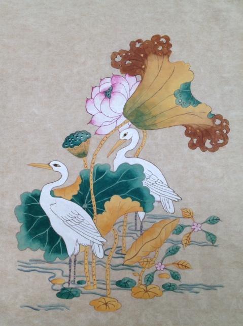 Lotus and Cranes