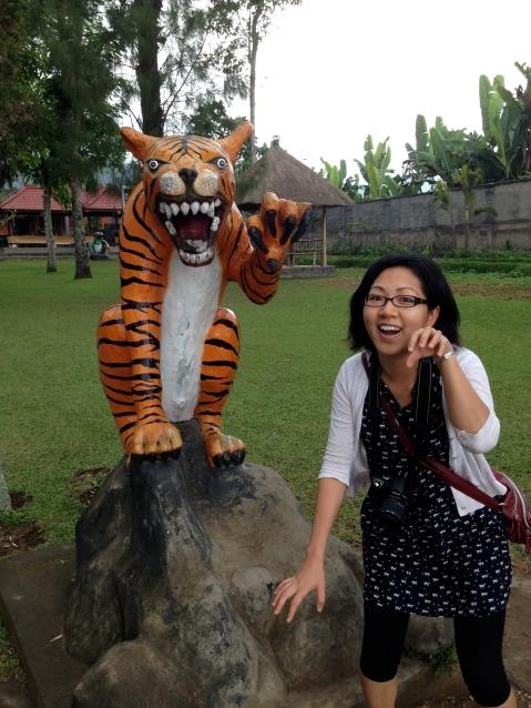 Imitating a tiger...