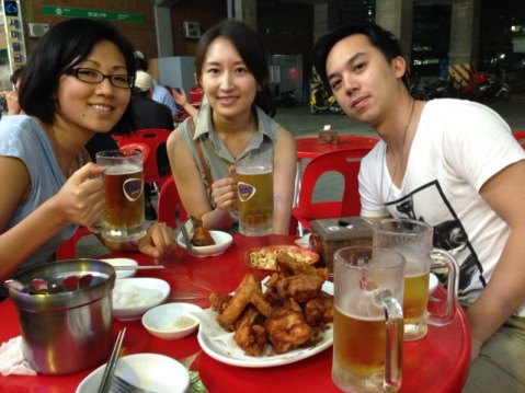 Chicken and beer: a Korean staple