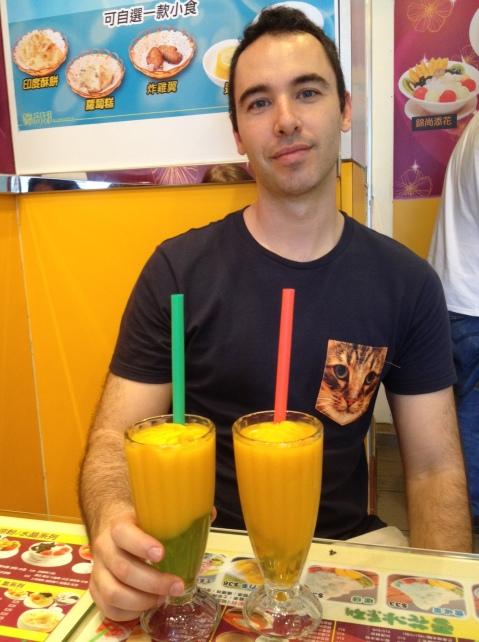 Mango drinks (do you like Alex's cat shirt?)