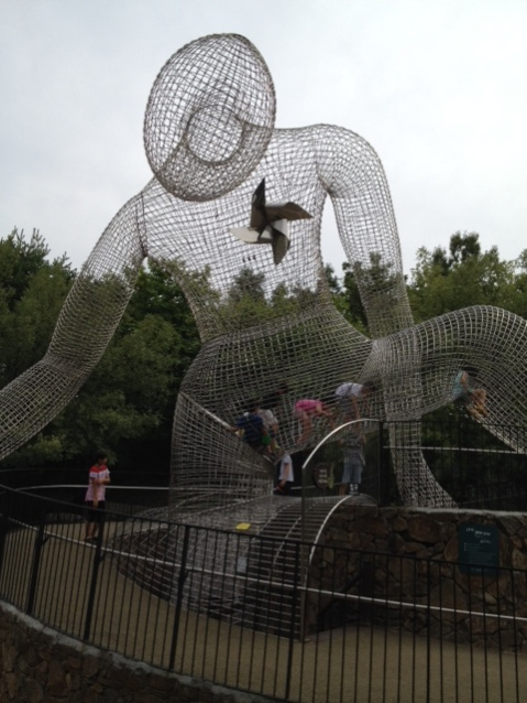 Man-shaped cage that kids can climb in