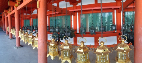 Close-up of Lanterns at Kasuga Taisha