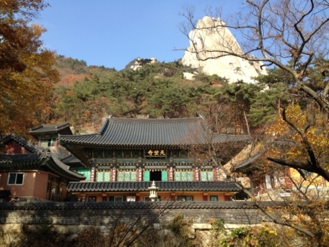 Temple with Dobongsan peak in background