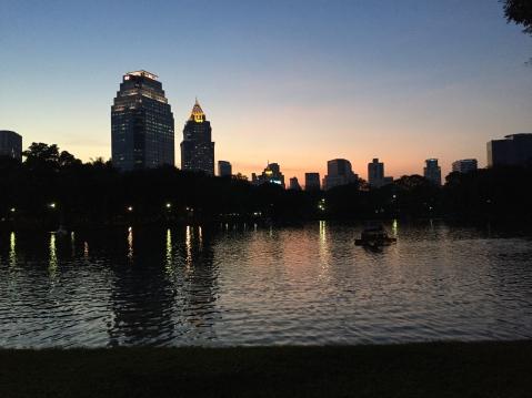 Lumpini Park at dusk