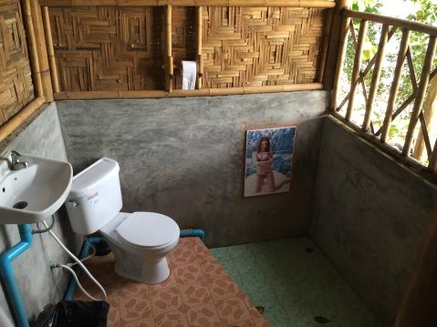 Open-air bathroom with tiled Thai beauty