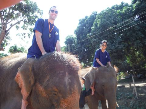 Riding elephants for the first time