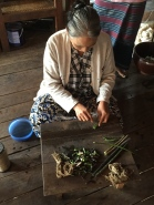 Lady extracting fiber from lotus stems