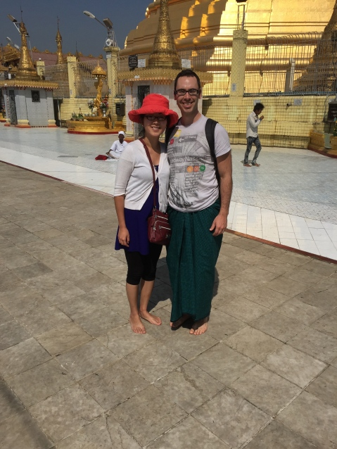 Botataung Pagoda: the guy taking our photo didn't understand to get the whole pagoda...