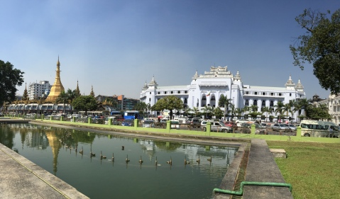 View of City Hall & Sule Pagoda from Mahabandoola Garden