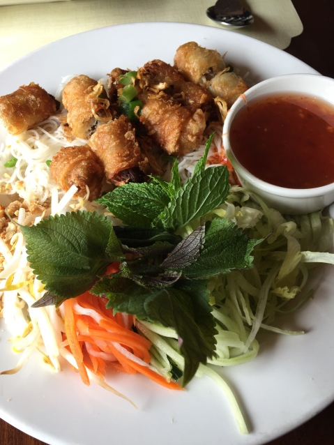 Vietnamese vermicelli noodles with egg rolls